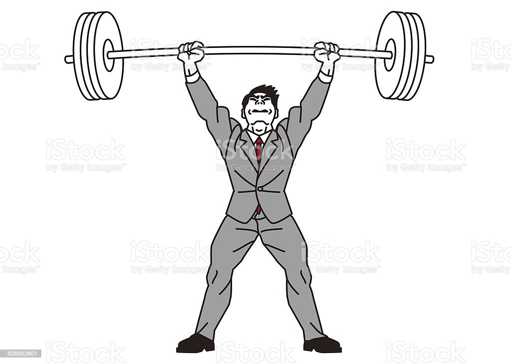 Weightlifting. Power. Support. Endure. Businessman vector art illustration