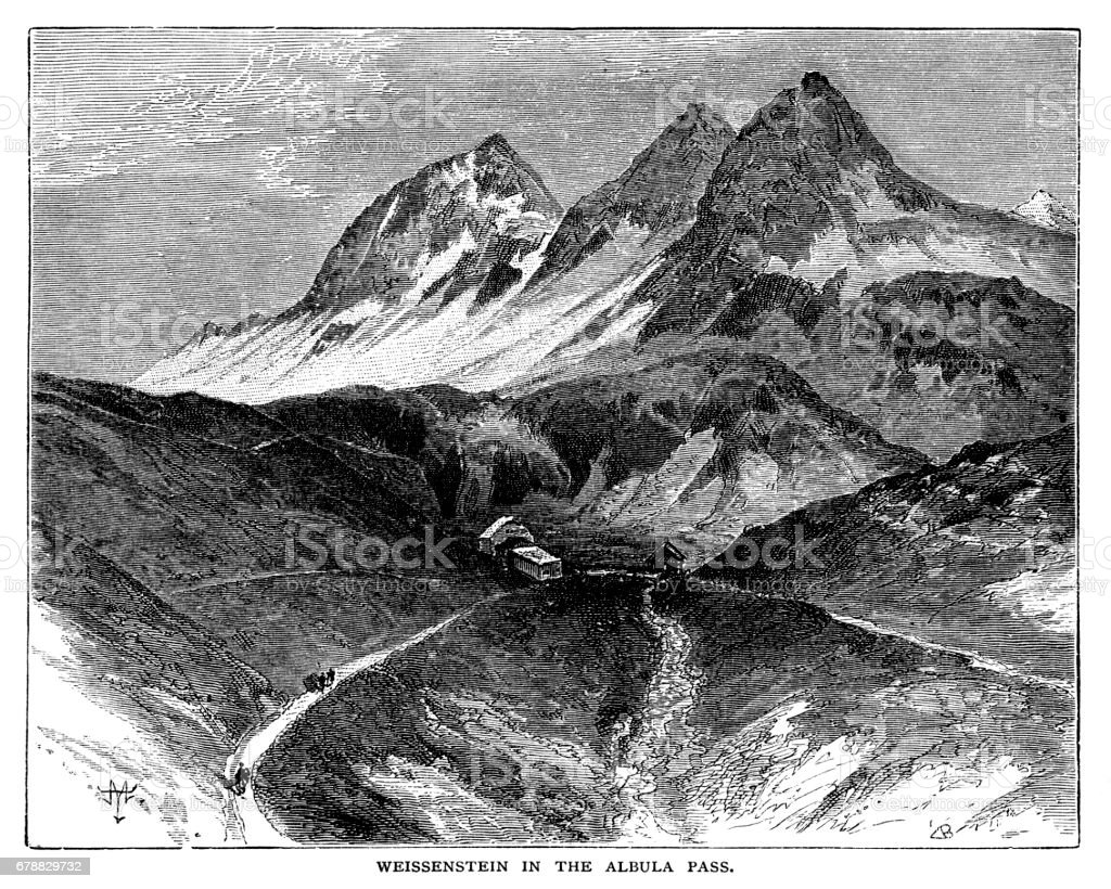 Weissenstein in the Albula Pass weissenstein in the albula pass – cliparts vectoriels et plus d'images de alpes européennes libre de droits