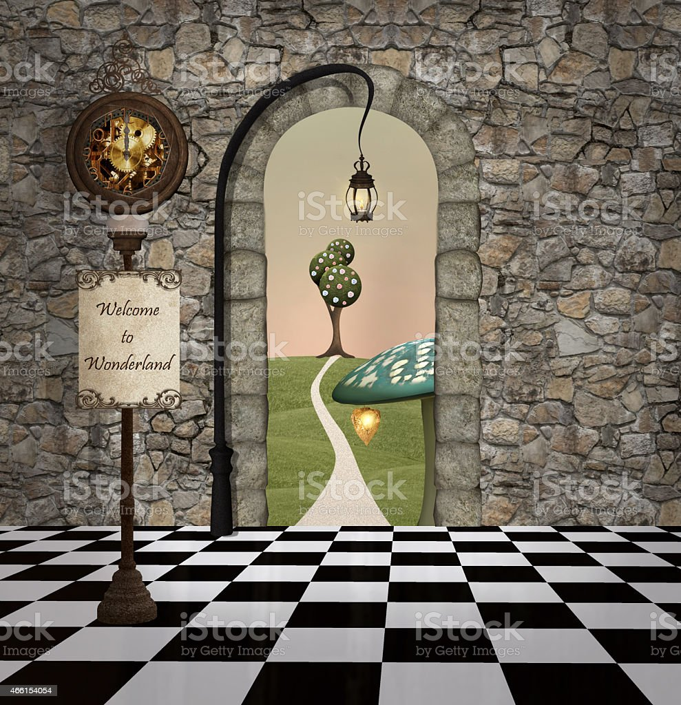 Benvenuti a wonderland - illustrazione arte vettoriale