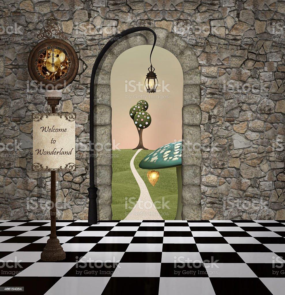 Welcome to wonderland vector art illustration