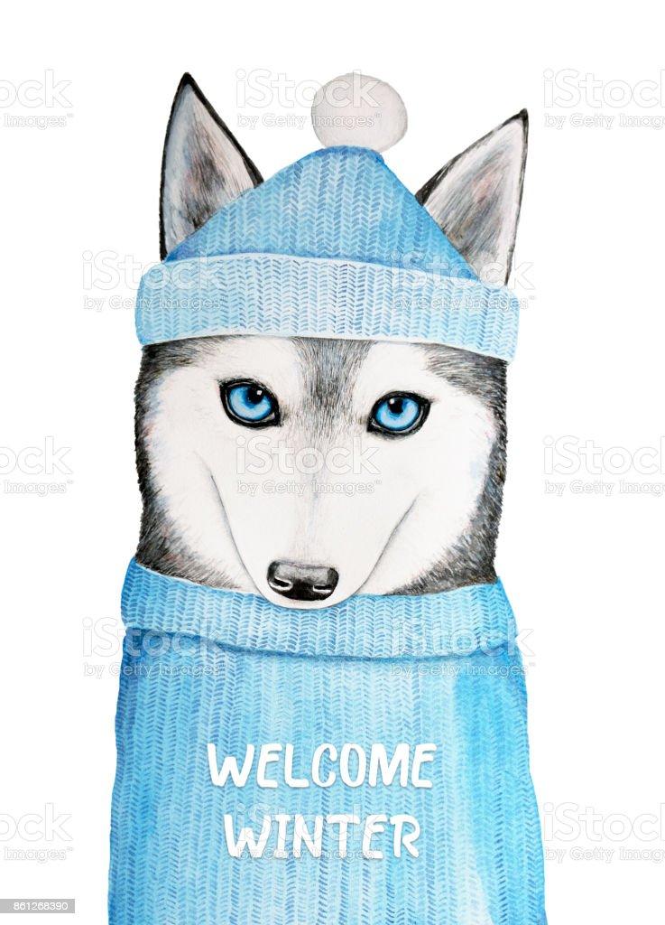 Ilustración de Ilustración De Invierno Bienvenido Con Un Lindo Perro ...