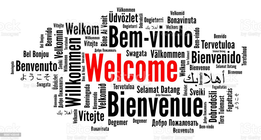 Welcome word cloud in different languages vector art illustration
