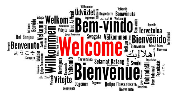 Welcome word cloud in different languages Welcome word cloud in different languages illustration greeting stock illustrations