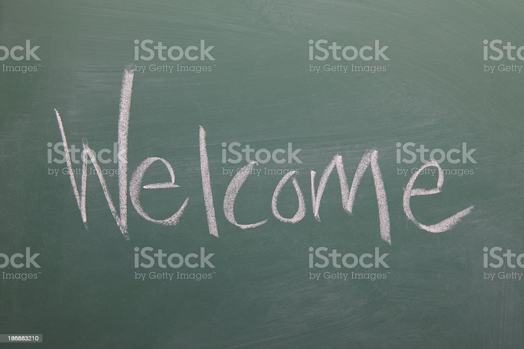 Welcome written on a chalkboard royalty-free stock vector art
