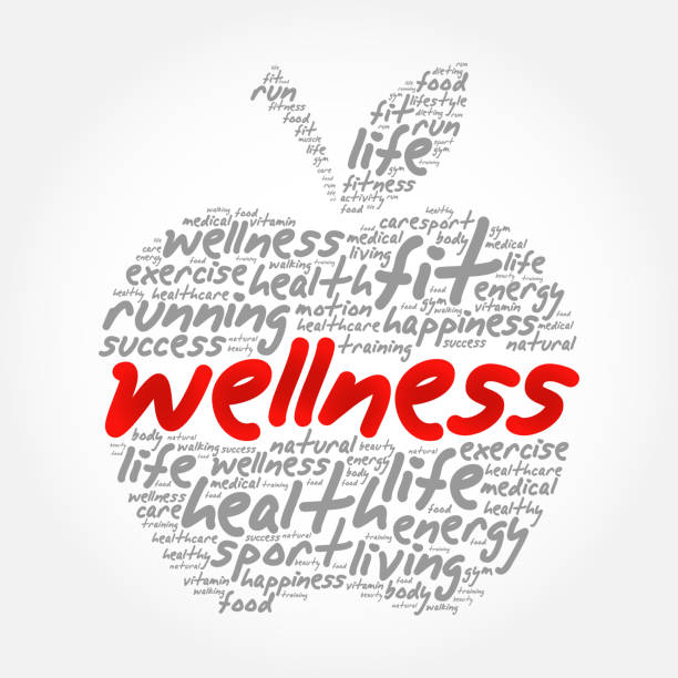wellness apple word cloud collage - wellness stock illustrations
