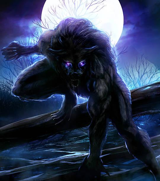 Werewolf Werewolf image in a sitting pose werewolf stock illustrations
