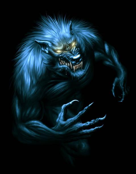 Werewolf Werewolf with glowing eyes on the dark background. Digital painting. werewolf stock illustrations