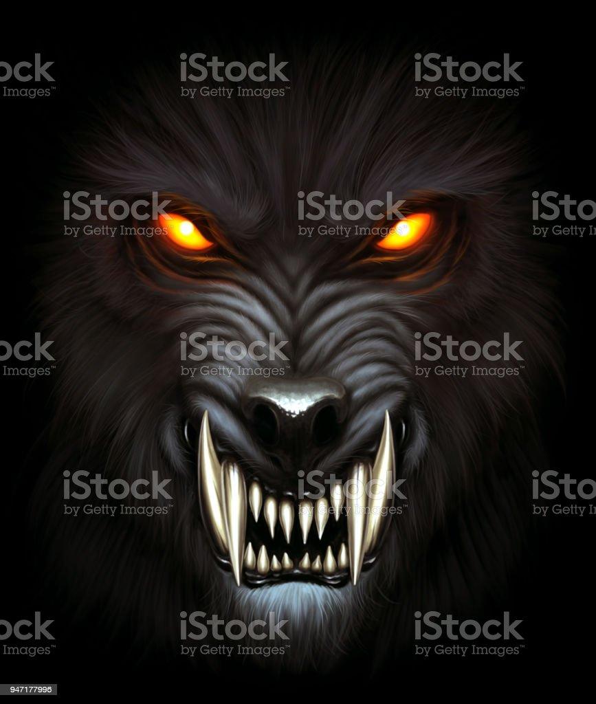 Werewolf portrait vector art illustration