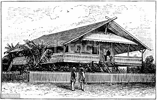 Antique illustration of people outside their homes and chatting in the African town