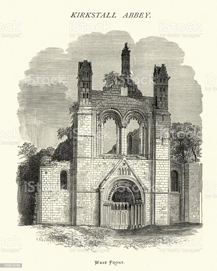 West Front of Abbey of Kirkstall, West Yorkshire, 19th Century vector art illustration