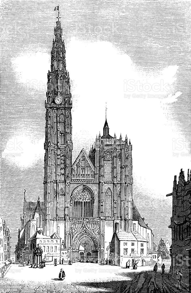 West Front of Antwerp Cathedral (Victorian woodcut) royalty-free stock vector art