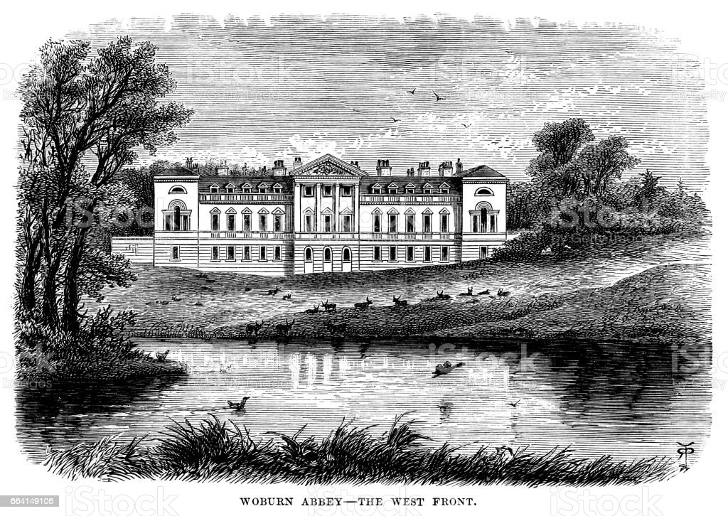 West Front of Woburn Abbey, Bedfordshire (Victorian engraving) vector art illustration
