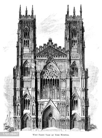 "The West Front of York Minster, York, England. York Minster is one of the largest cathedrals in Europe. Woodcut from ""Pleasant Hours: A Monthly Journal of Home Reading and Sunday Teaching; Volume III"" published the Church of England's National Society's Depository, London, in 1863."