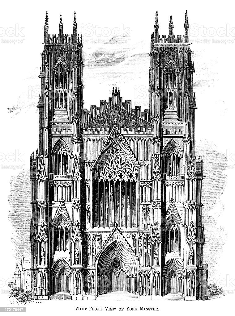 West Front of York Minster (Victorian woodcut) vector art illustration