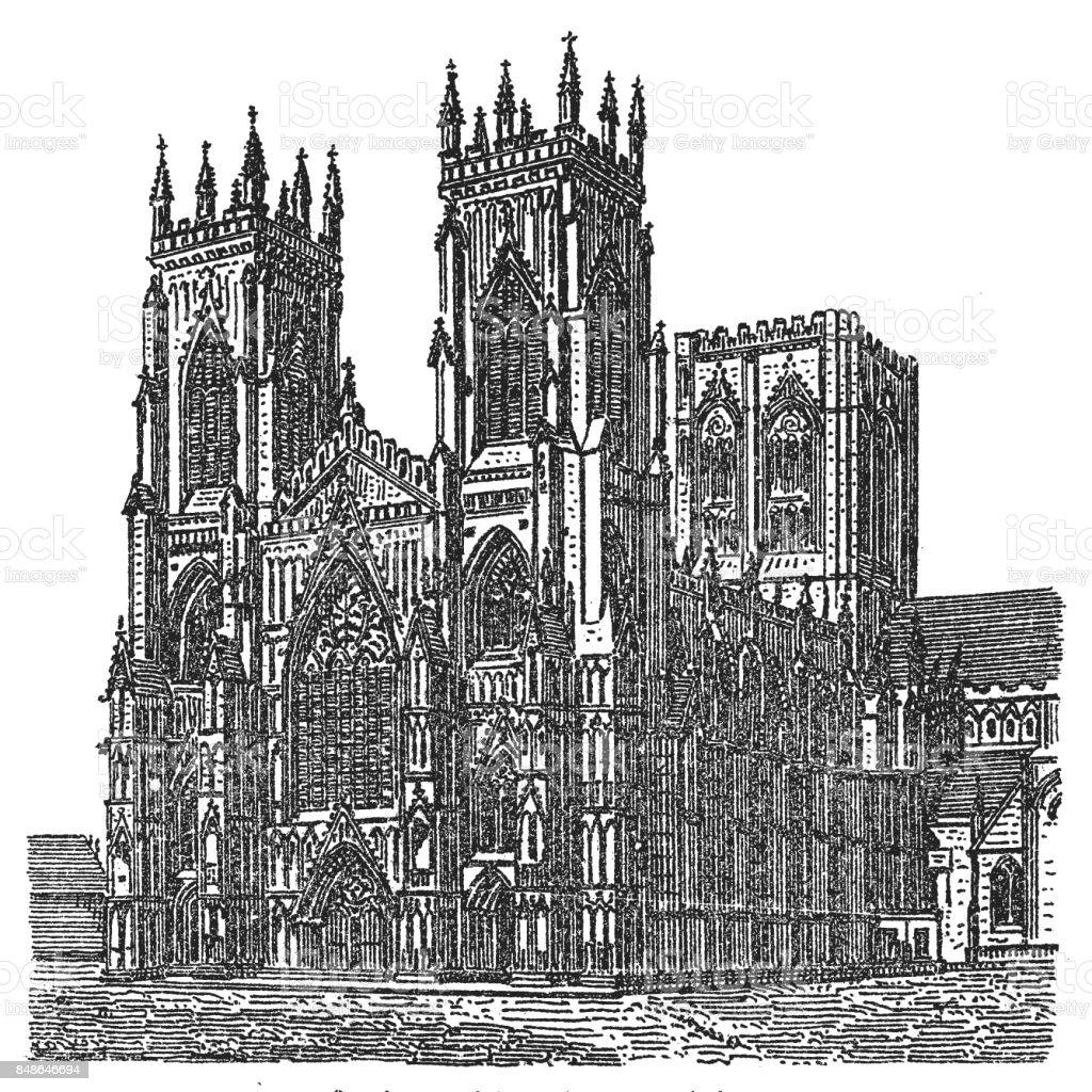 West Front of York Minster vector art illustration
