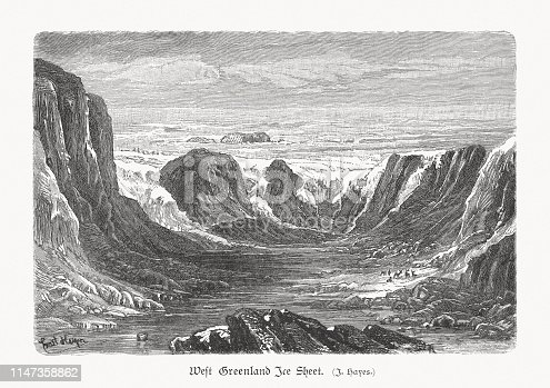 Historical view of the West Greenland Ice Sheet at the end of the 19th century. The West Greenland Ice Sheet melted at a dramatically higher rate over the last twenty years than at any other time. Climate models project that local warming in Greenland will be 3 °C (5 °F) to 9 °C (16 °F) during this century. Ice sheet models project that such a warming would initiate the long-term melting of the ice sheet, leading to a complete melting of the ice sheet (over centuries), resulting in a global sea level rise of about 7 metres (23 ft). Such a rise would inundate almost every major coastal city in the world. Wood engraving, published in 1897.