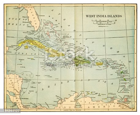 an old map of the West India (West Indies)  from 1892