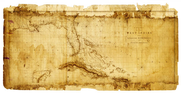 West Indies Antique Map 1803 Vector Art Illustration