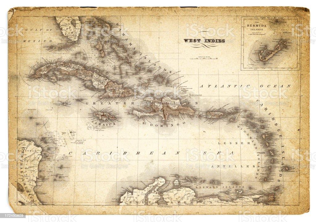 west indies antique map 1852 vector art illustration