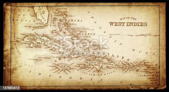 an old map of the West Indies form 1865
