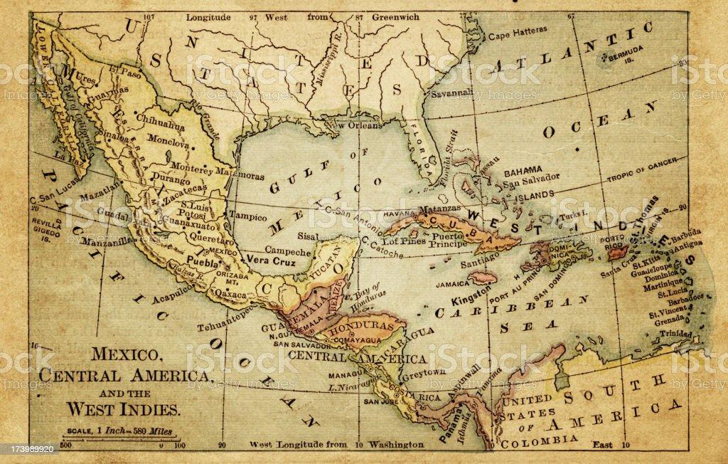 west indies antique map vector art illustration