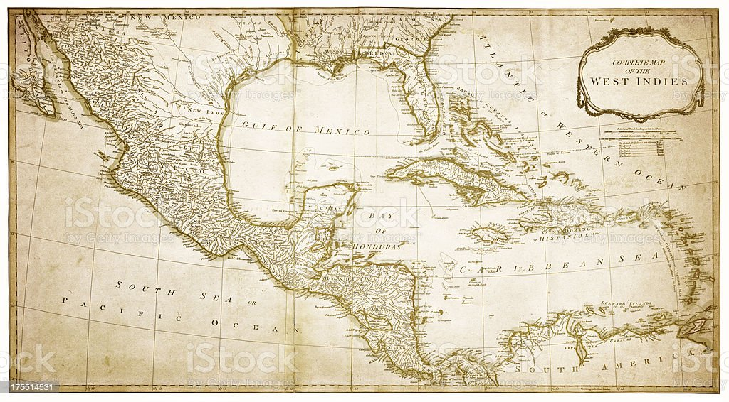 Mexico Map 1794.West Indies Map 1794 Stock Vector Art More Images Of Antique