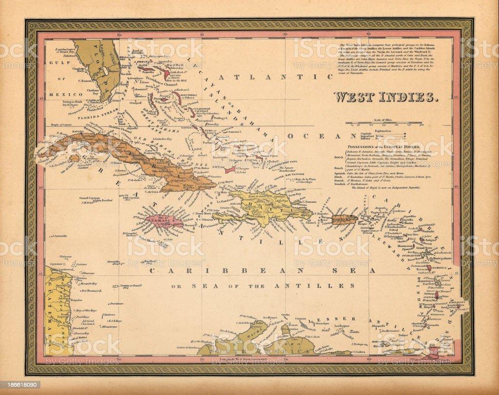 West Indies map 1849 vector art illustration