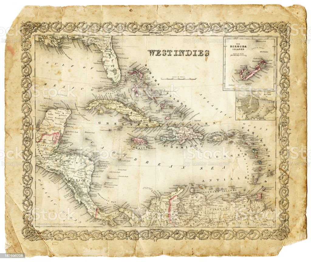West Indies map 1855 vector art illustration