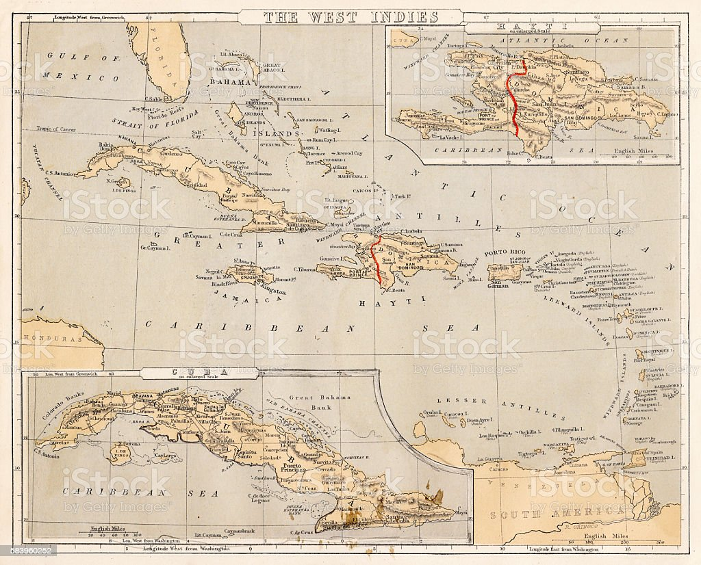 West Indies map 1869 vector art illustration