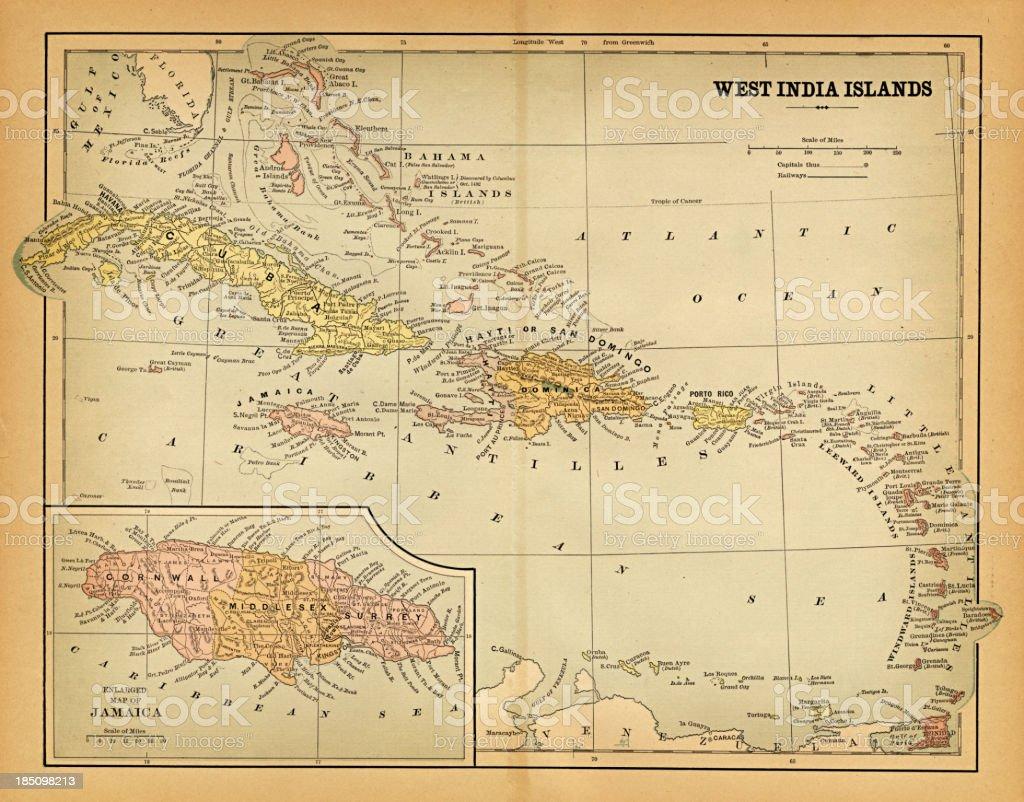 west indies map 1883 vector art illustration