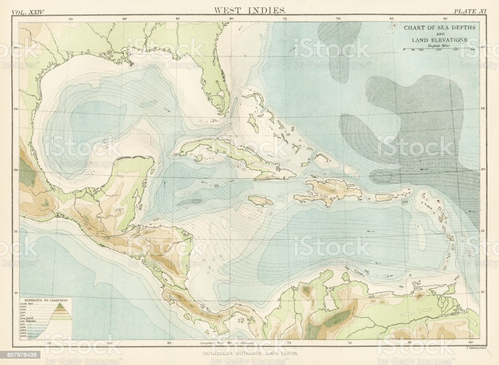 West Indies Map 1885 Stock Vector Art & More Images of Antique | iStock