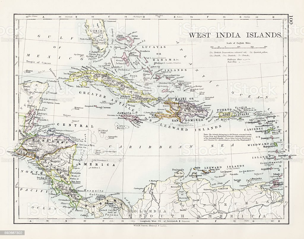 West indies map 1897 vector art illustration