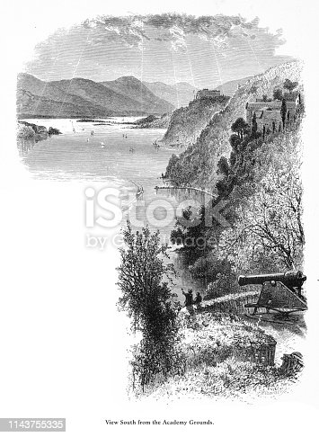 Very Rare, Beautifully Illustrated Antique Engraving of West Point on the Hudson River, View from the Academy Grounds, New York, United States, American Victorian Engraving, 1872.
