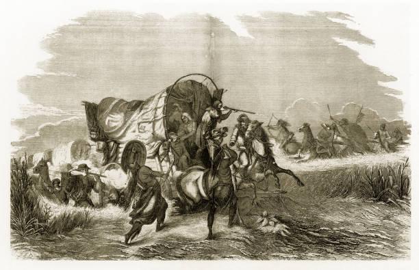 Gravura de expansão ocidental americano, 1884 - ilustração de arte em vetor