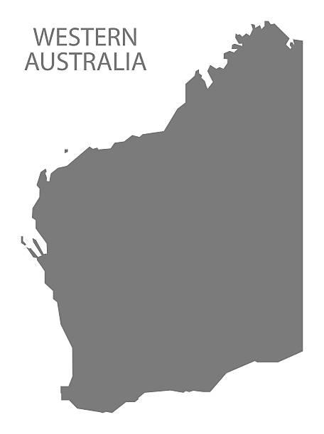 western australia map grey - western australia stock illustrations