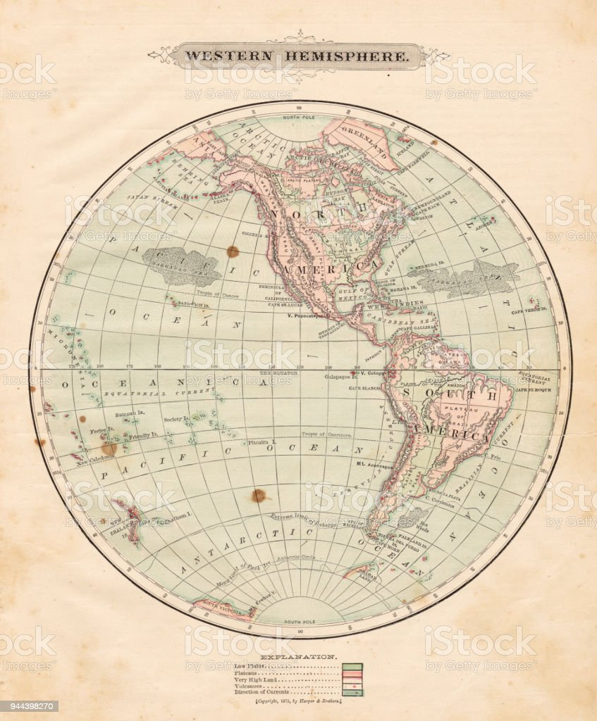 Western hemisphere map 1881 stock vector art more images of globe navigational equipment map world map south america usa gumiabroncs Gallery