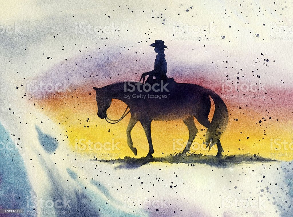 Western Horse and Rider vector art illustration
