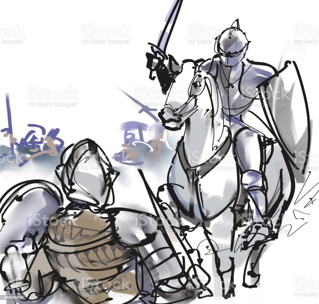 Ilustración de Caballeros Occidentales y más banco de imágenes de ...