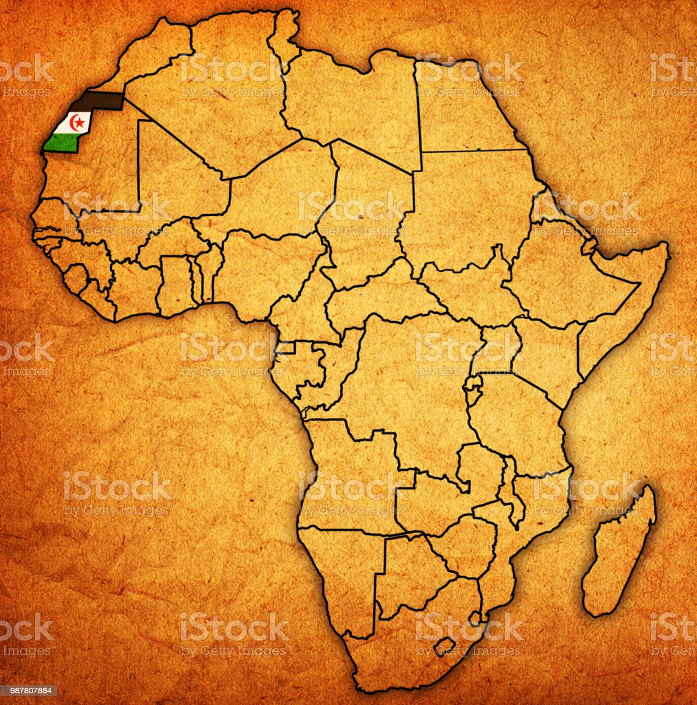 Map Of Africa Sahara.Western Sahara On Political Map Of Africa Stock Illustration
