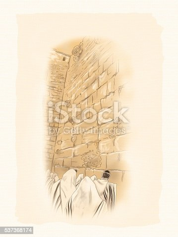 Western Wall Jerusalem. Prayer at the Western Wall of Temple. landmark of Israel. Watercolor Illustration. Hand drawn.