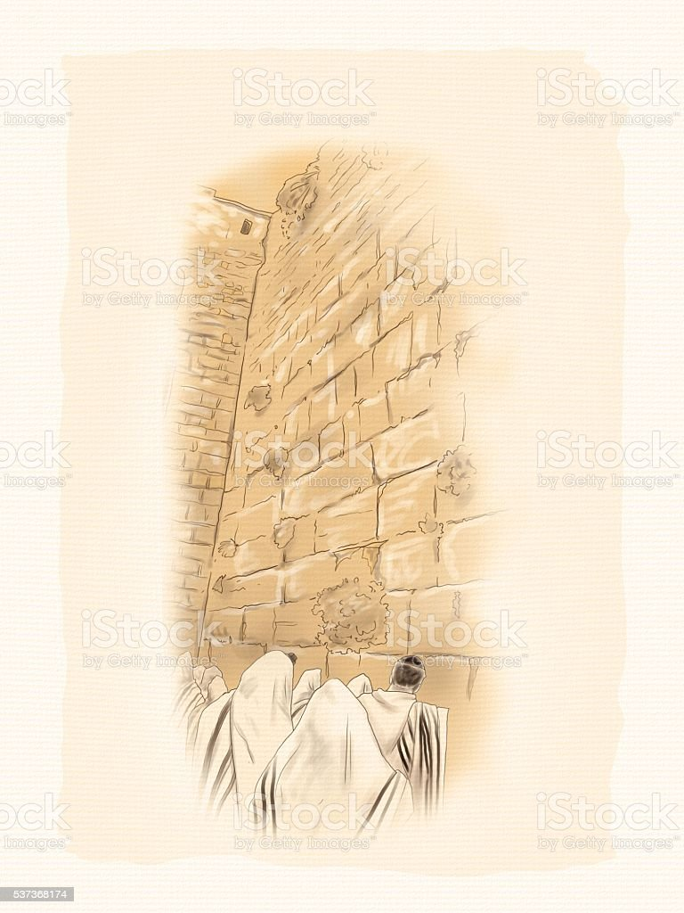 Western Wall Jerusalem vector art illustration