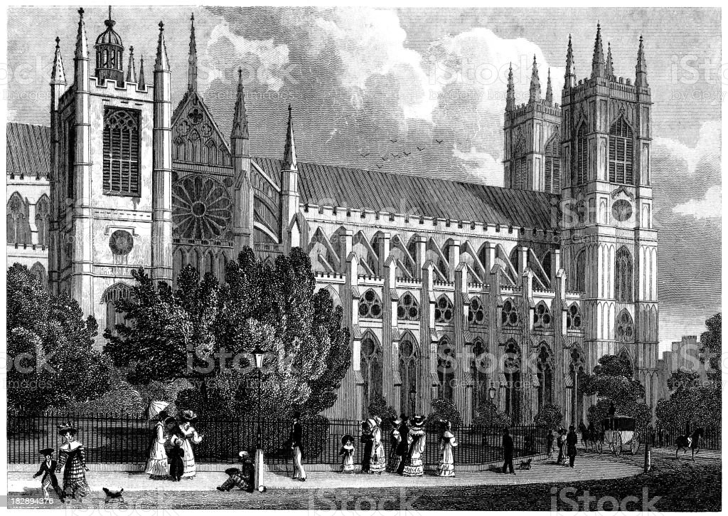 Westminster Abbey and St Margaret's Church, London 1829 (illustration) royalty-free stock vector art