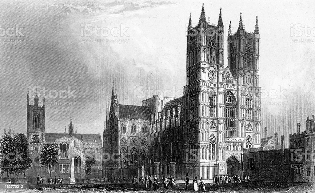 Westminster Abbey in Antique Engraving circa 1850s royalty-free stock vector art