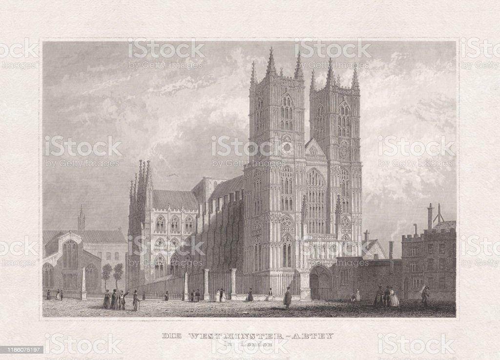 1857年に出版されたロンドンのウェストミンスター寺院スチール彫刻 ...