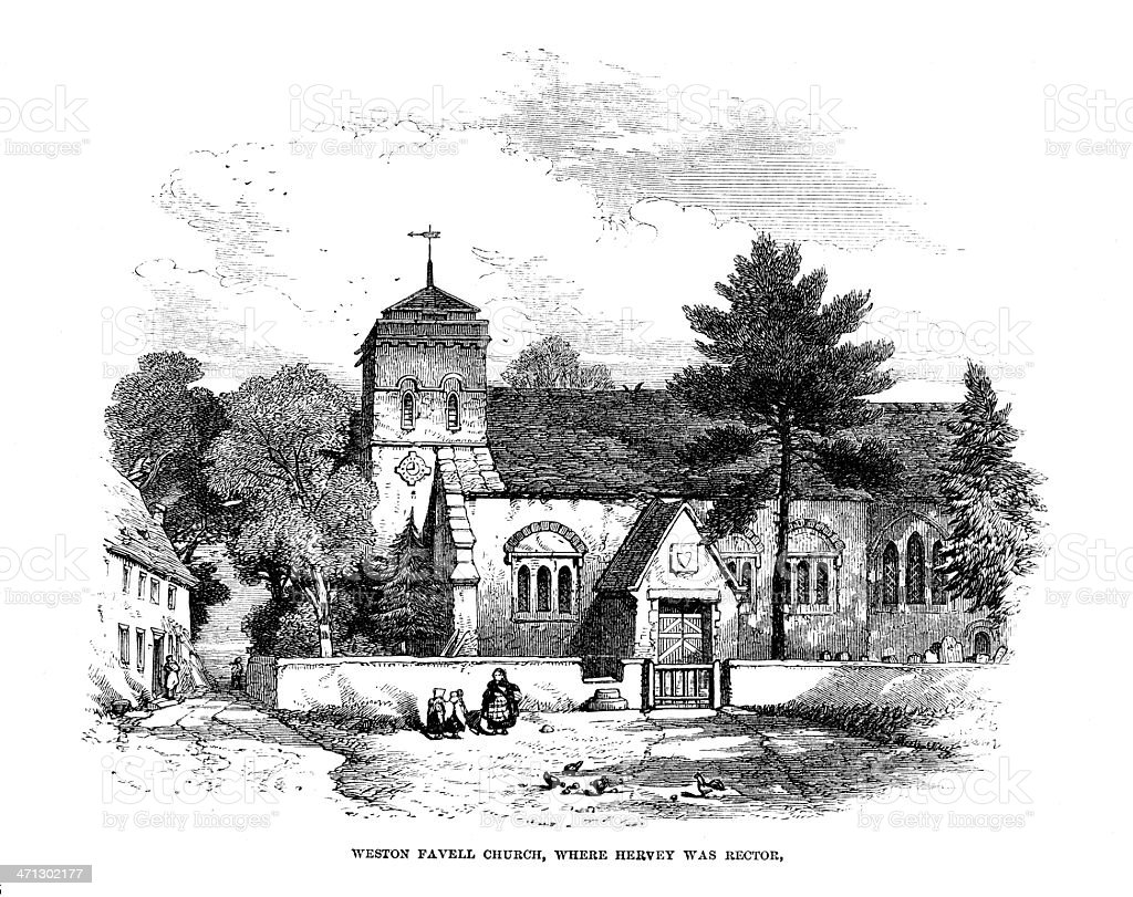 Weston Favell church - print from 1864 magazine royalty-free stock vector art