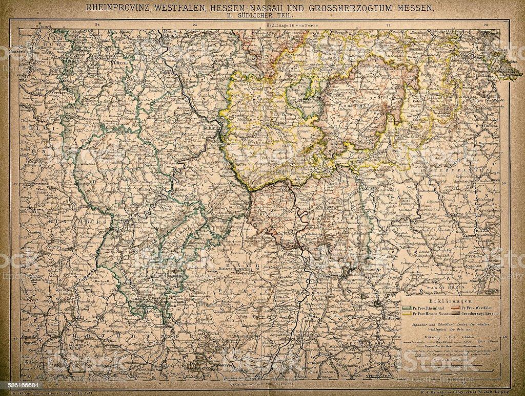 Westphalia, Hesse-nassau and Grand Duchy of Hesse Rhine Province vector art illustration