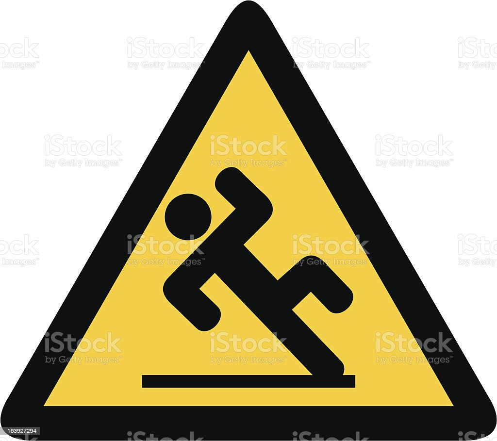 wet floor sign (slippery warning symbol) royalty-free stock vector art