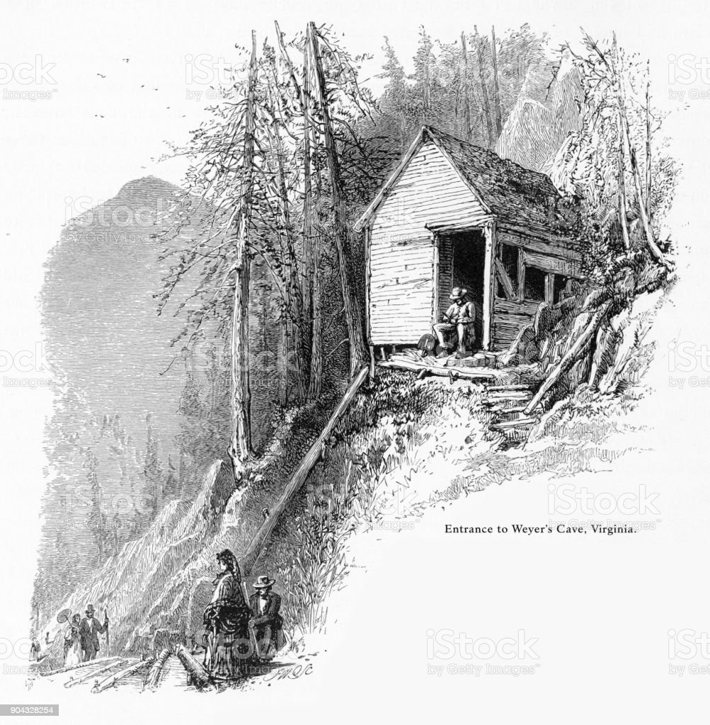 Weyer's Cave, Staunton, Virginia, United States, American Victorian Engraving, 1872 vector art illustration