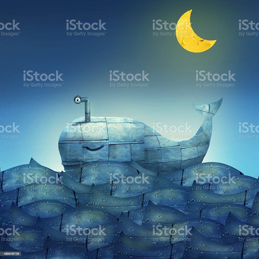 Whale in Blue vector art illustration