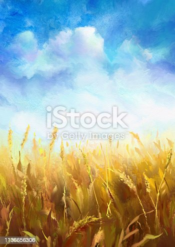 wheat field, watercolor